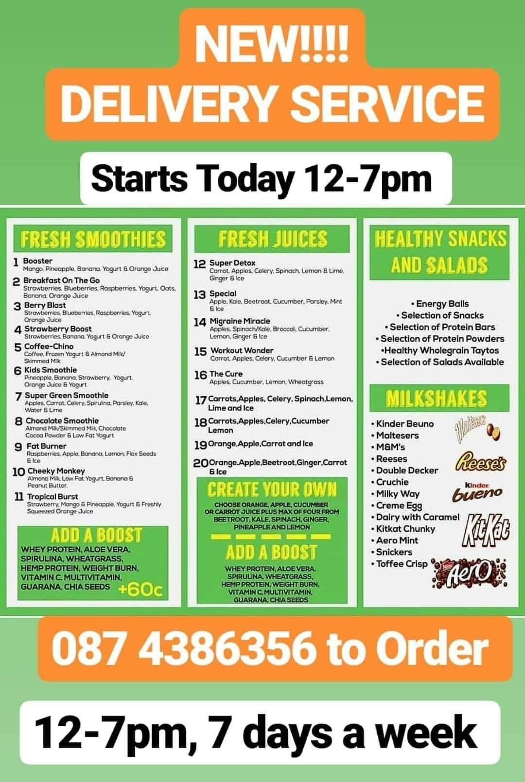 Smoothie and Juice Delivery Carrick on Shannon